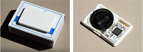 Beacon auf einer Streichholzschachtel (links) und geöffnet (rechts)
