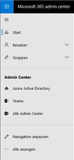 Menü des Microsoft 365 Admin Centers