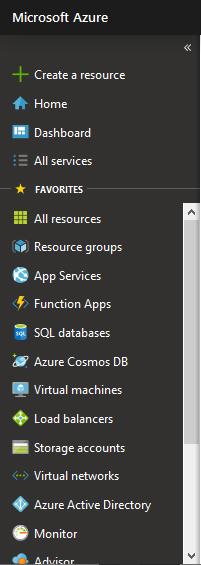 Menü des Portals Microsoft Azure