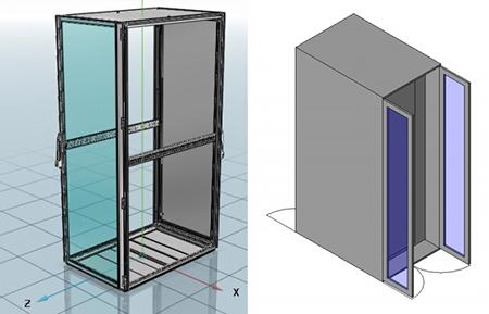 """Beispiele für unterschiedliche LOD bei einem 19""""-Schrank (links Rittal, rechts ComConsult-Konstruktion)"""
