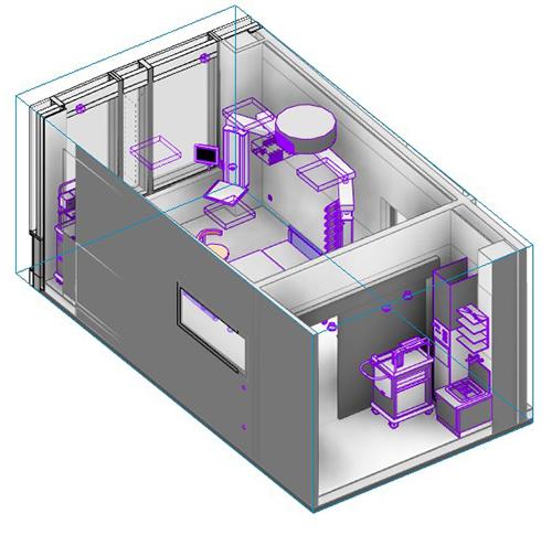 3D-Ansicht eines für medizinische Zwecke genutzten Raumes