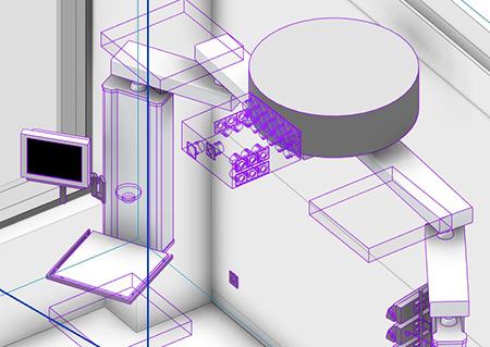 3D-Ansicht einer für medizinische Zwecke genutzten Deckeneinheit