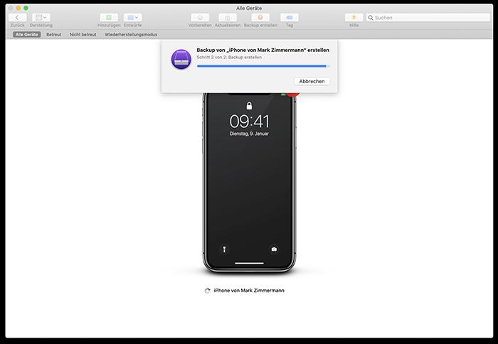 Backup per Apple Configurator